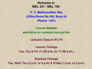 Welcome to  MEL 331 / MEL 784