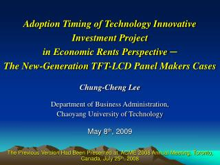 Chung-Cheng Lee Department of Business Administration, Chaoyang University of Technology