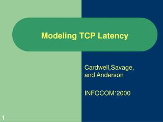 Modeling TCP Latency