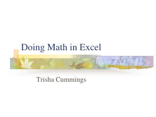 Doing Math in Excel