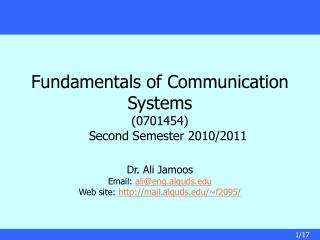 Fundamentals of Communication Systems (0701454) Second Semester 2010/2011