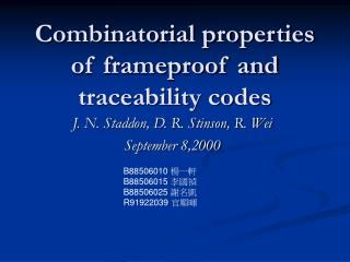 Combinatorial properties of frameproof and traceability codes