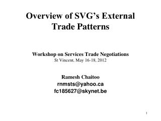 Overview of SVG�s External Trade Patterns