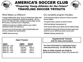 "AMERICA'S SOCCER CLUB ""Preparing Young Athletes for the Future"" TRAVELING SOCCER TRYOUTS"