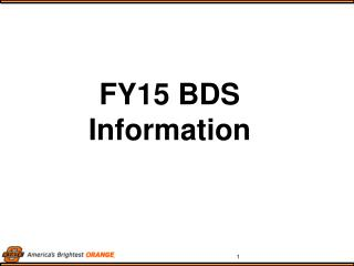 FY15 BDS Information