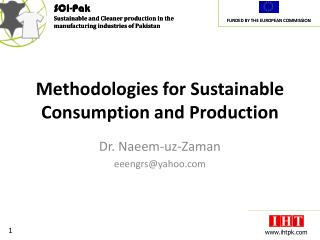Methodologies for Sustainable Consumption and Production