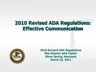 2010 Revised ADA Regulations: Effective Communication
