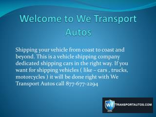 WE TRANSPORT AUTOS - Auto Transport Companies