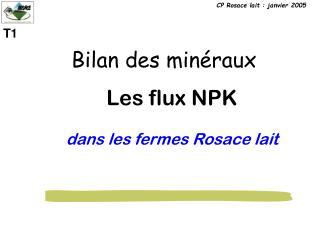 Les flux NPK dans les fermes Rosace lait