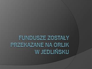 Fundusze zostały przekazane na orlik w Jedlińsku