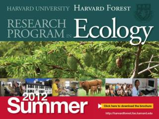 Projects in summer 2012 will focus on: Invasive Plants, Pests & Pathogens