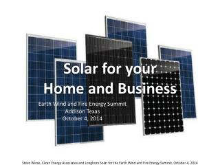 Solar for your  Home and Business