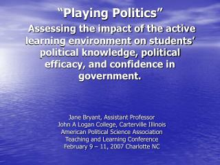 Jane Bryant, Assistant Professor John A Logan College, Carterville Illinois