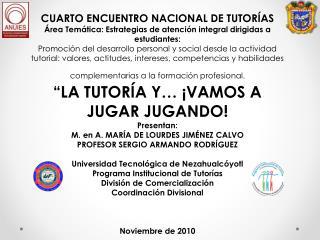 CUARTO ENCUENTRO NACIONAL DE TUTORÍAS
