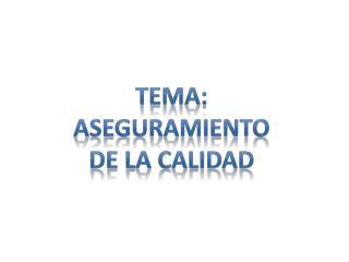 Tema:  Aseguramiento De la calidad
