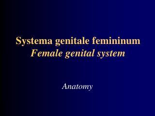 Systema genitale femininum  Female genital system