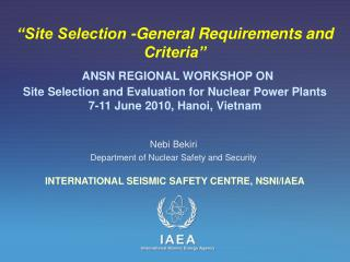 Nebi Bekiri Department of Nuclear Safety and Security