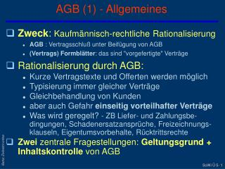 AGB 1 - Allgemeines