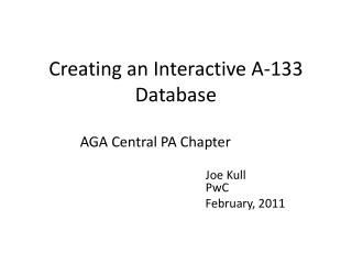 Creating an Interactive A-133 Database