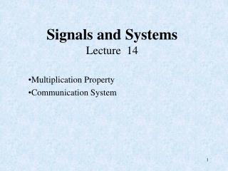 Signals and Systems Lecture  14