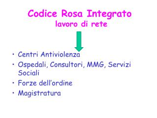Codice Rosa Integrato  lavoro di rete