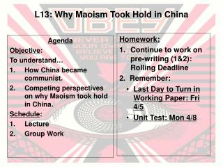 L13: Why Maoism Took Hold in China