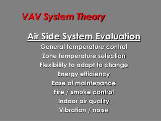 VAV System Theory