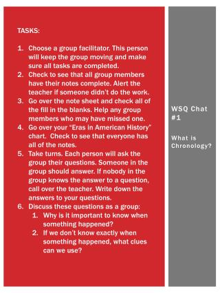 WSQ Chat #1 What is Chronology?