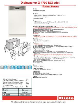 Dishwasher G 4700 SCi edst
