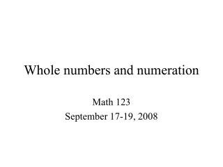 Whole numbers and numeration