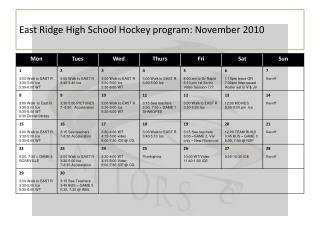 East Ridge High School Hockey program: November 2010