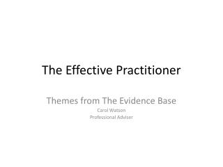 The Effective Practitioner
