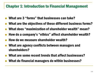 Chapter 1: Introduction to Financial Management