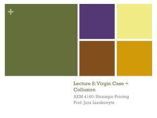 Lecture 8: Virgin Case + Collusion