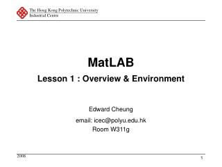 MatLAB Lesson 1 : Overview & Environment