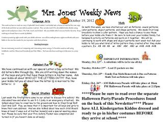 Mrs. Jones' Weekly News October 19, 2012