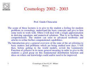 Cosmology 2002 - 2003