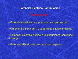 Potencial Eléctrico Continuación