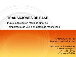 TRANSICIONES DE FASE