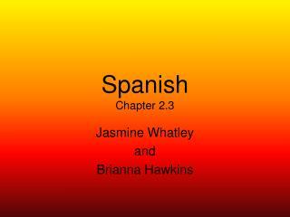 Spanish Chapter 2.3