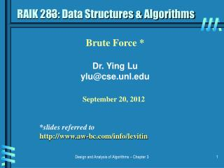 RAIK 283: Data Structures & Algorithms