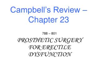 Campbell�s Review � Chapter 23