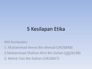 5  Kesilapan Etika