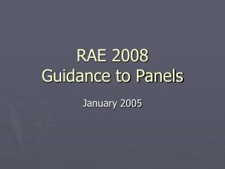 RAE 2008 Guidance to Panels