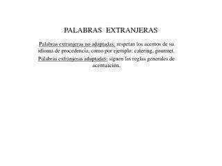 PALABRAS EXTRANJERAS