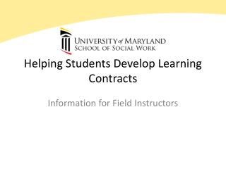 Helping Students Develop Learning Contracts
