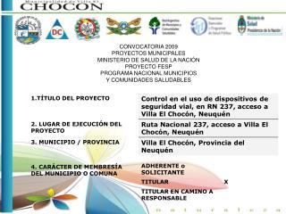 CONVOCATORIA 2009 PROYECTOS MUNICIPALES MINISTERIO DE SALUD DE LA NACIÓN PROYECTO FESP