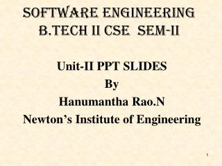 Software Engineering B.Tech II csE  Sem-II