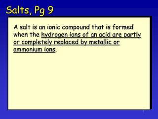 Salts, Pg 9