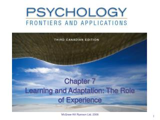 Chapter 7 Learning and Adaptation: The Role of Experience